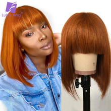Human-Hair-Wigs Realistic LUFFY Brazilian Bangs Short Top-Machine Colored Women Bob