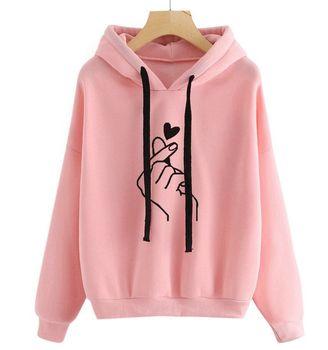 Adisputent 2020 Women Hoodies Casual Planet Print Solid Color Loose Drawstring Sweatshirt Fashion Long Sleeve Hooded Female Tops 8