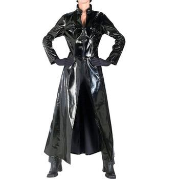 Male Trench Long Design Leather Overcoat PVC Long Trench Coat Men and Women Neutral Night Singer Ds Costumes Windbreaker Men