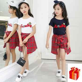Kids Girl Clothes 2018 New Style Girls Summer Kids Children Sets Wear Short Sleeve T-Shirt +Lattice Culottes Two Piece Set - DISCOUNT ITEM  17 OFF Mother & Kids