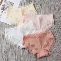 2021 Casual Fashion Women Panties Lace Mid-waist Underwear Threaded Brief Solid Color Skin-Friendly Ladies Underpants Breathable 1