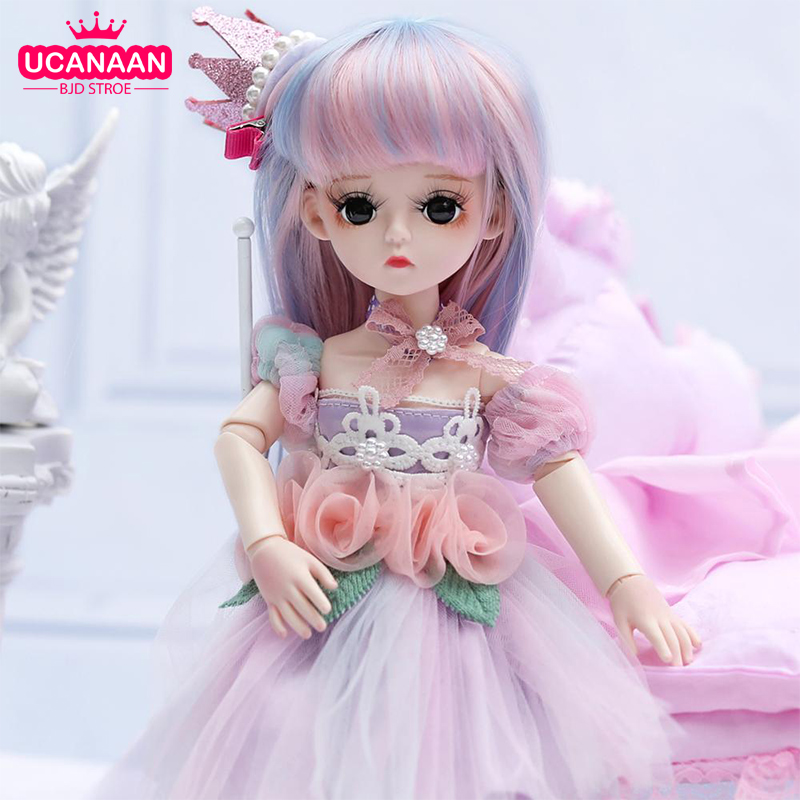 UCanaan BJD Doll 1/3 SD Dolls 30CM 18 Ball Jointed Doll Girls DIY Dress UP Toys With Full Set Clothes Wig Shoes Makeup Girl Gift