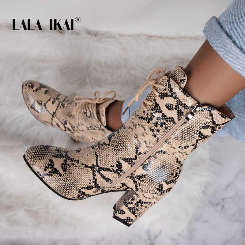 LALA IKAI 2019 Sonbahar Kadın yarım çizmeler Kış PU Deri Serpantin Ayakkabı Kadın Dantel-up Pompaları Fermuar Kare Topuk Çizmeler a7300-4