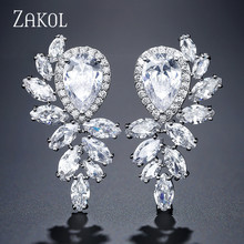 ZAKOL Popular Marquise Cut Cubic Zirconia Bridal Dangle Earrings for Elegant Women Trendy Water Drop Wedding Jewelry FSEP2330