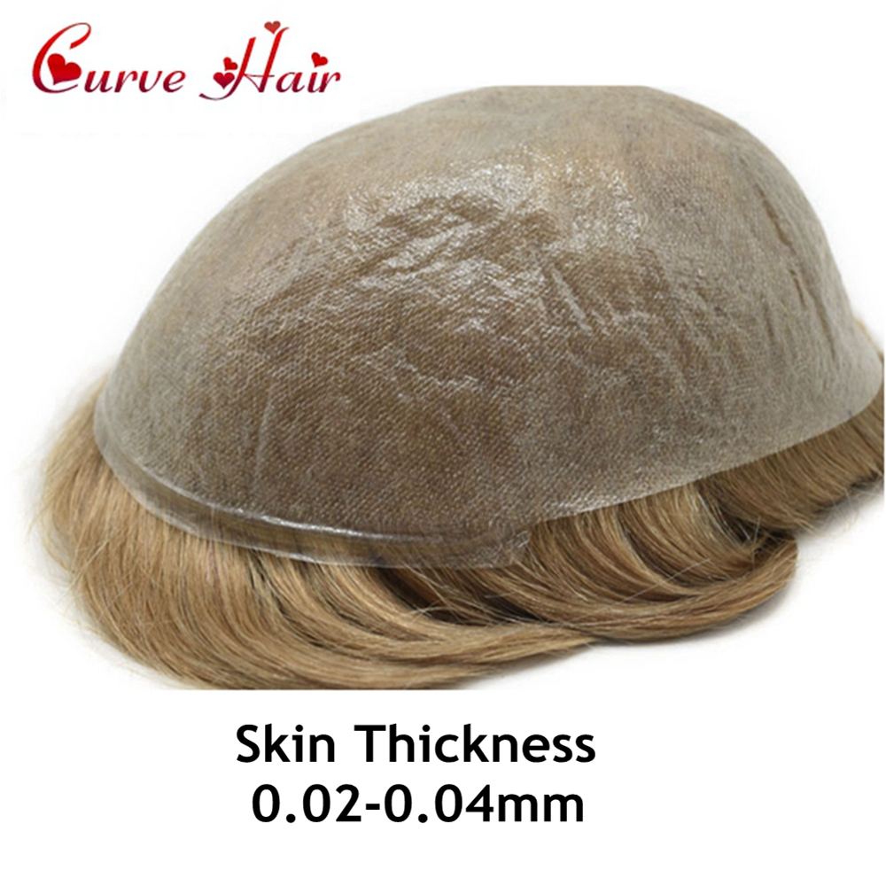 Ultra Thin Skin V-looped Men Toupee Full Poly Human Hair Wig All PU Hair Replacement System  Black Brown Blonde Hairpiece
