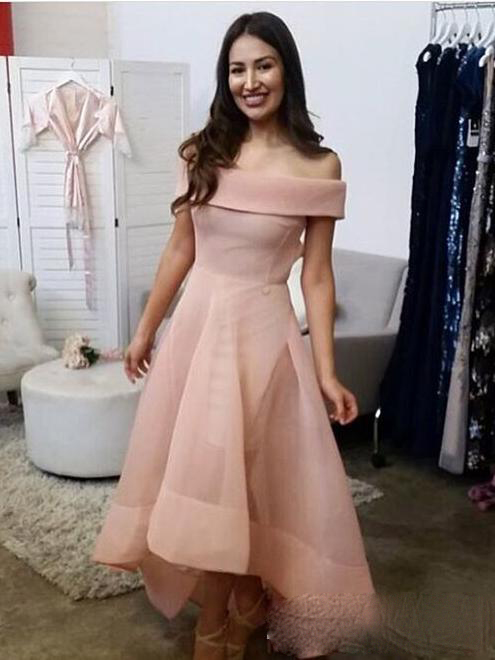 New Arrival Boat Neck Women Formal Evening Dress High Low Style Women Prom Gown Custom Made