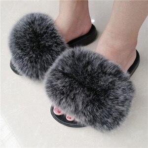 Image 1 - ZDFURS * zapatillas de piel de zorro para mujer, Sliders suaves, cómodos zapatos planos de verano con piel de mapache, zapatos de suela EVA a la moda
