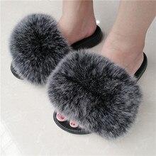 Zdfurs * 女性キツネの毛皮のスリッパふわふわスライダー快適アライグマ毛皮のような夏フラッツスウィートレディース靴evaソールファッション靴反転