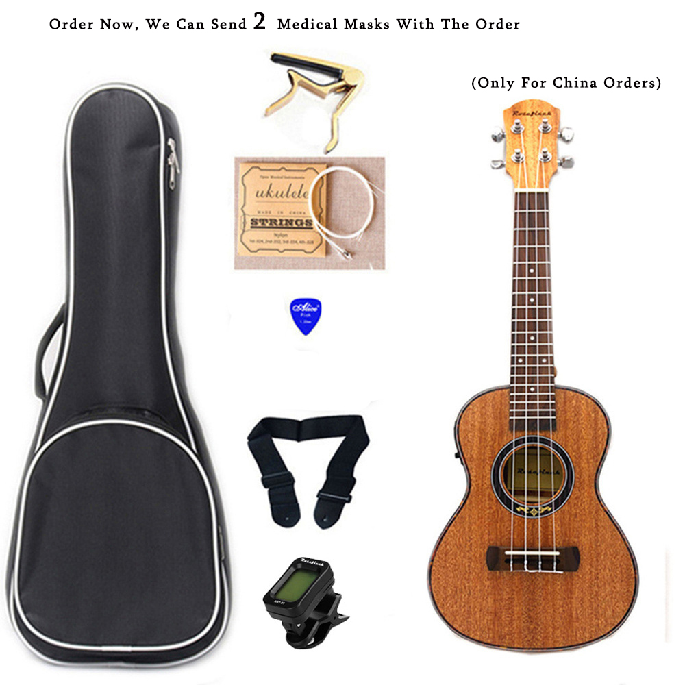 23 Inch Electric Ukulele 4 Strings Mahogany Pickup Ukulele Sets With Bag Tuner Hawaii Mini Guitar Music Instrument UK2305C-EQ