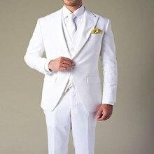 Wholesale 2020 costume homme White Groom's Wear Peak Lapel W