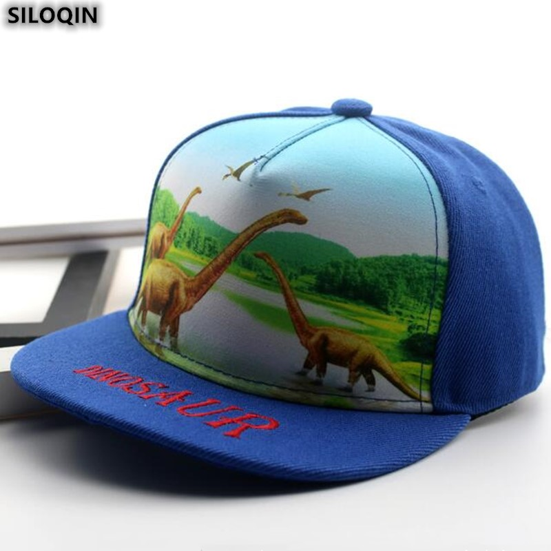 Hip Hop Caps Dinosaur Green Pattern Cotton Hats Adjustable Unisex Baseball Cap