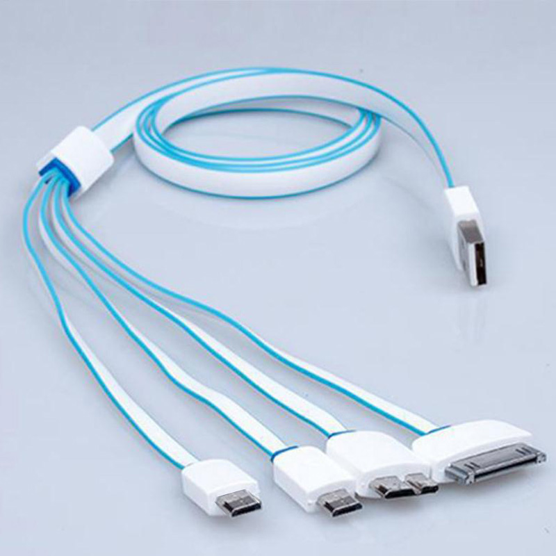 Multi Head Multi-Function Charge Cable Four in One Universal Charger Cable 4 En 1 Mobile Cable Usb Charging Line