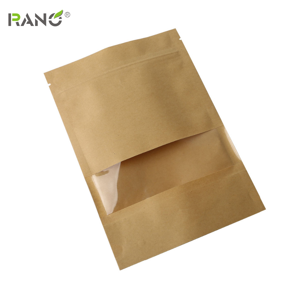 Купить с кэшбэком RANO 10pcs Boutique Zip Lock Brown Kraft Paper Gift Candy Window Packaging Bag Recyclable Food Bread Party Shopping Bags