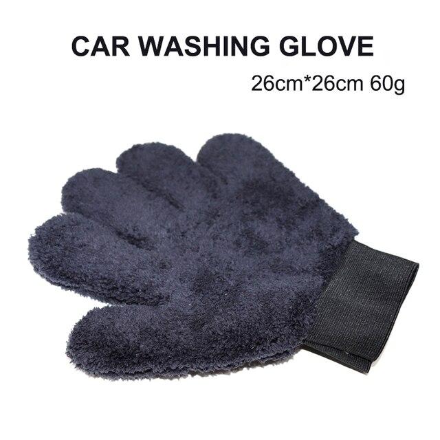 2021 חדש 1pcs מיקרופייבר Paw בצורת כפפת כפול צד חמש אצבע עבה בד עמיד רכב כביסה אבזר שחור אפור