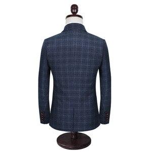 Высокое качество, мужские костюмы со штанами, дизайнерские, 2020, облегающие, клетчатые, деловые, повседневные, Homme, 3 штуки, свадебные костюмы для мужчин