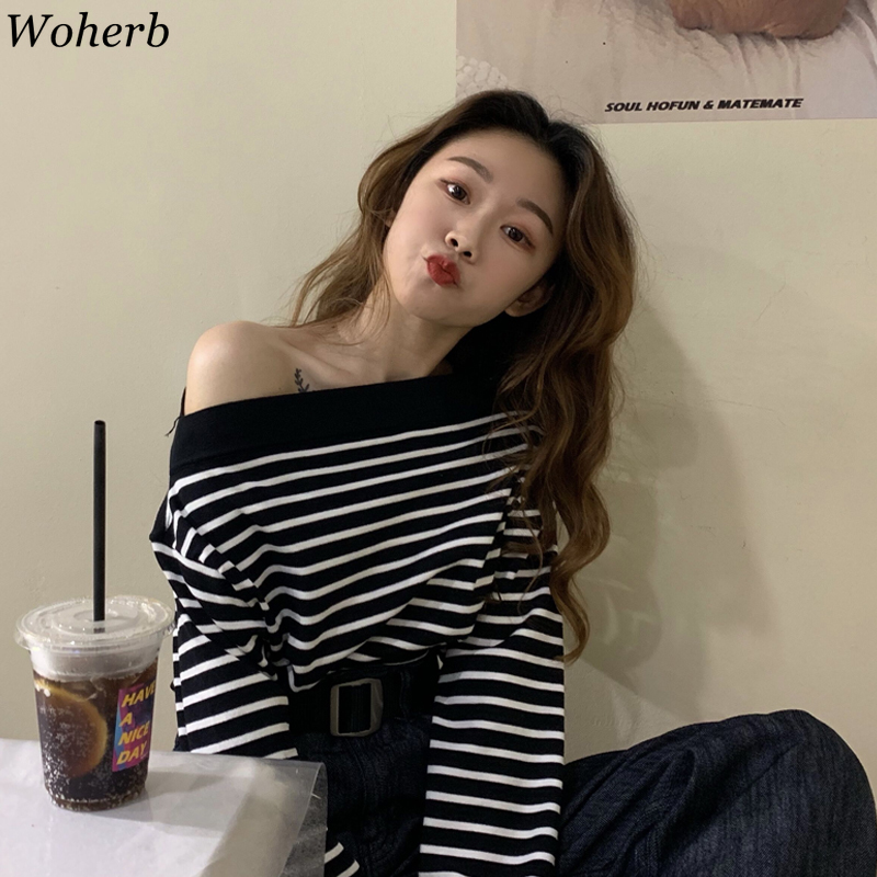 Woherb Womens Spring Thin Sweaters 2020 Korean Fashion Chic Off Shoulder Pullover Women Striped Print Casual Knitted Tops Jumper