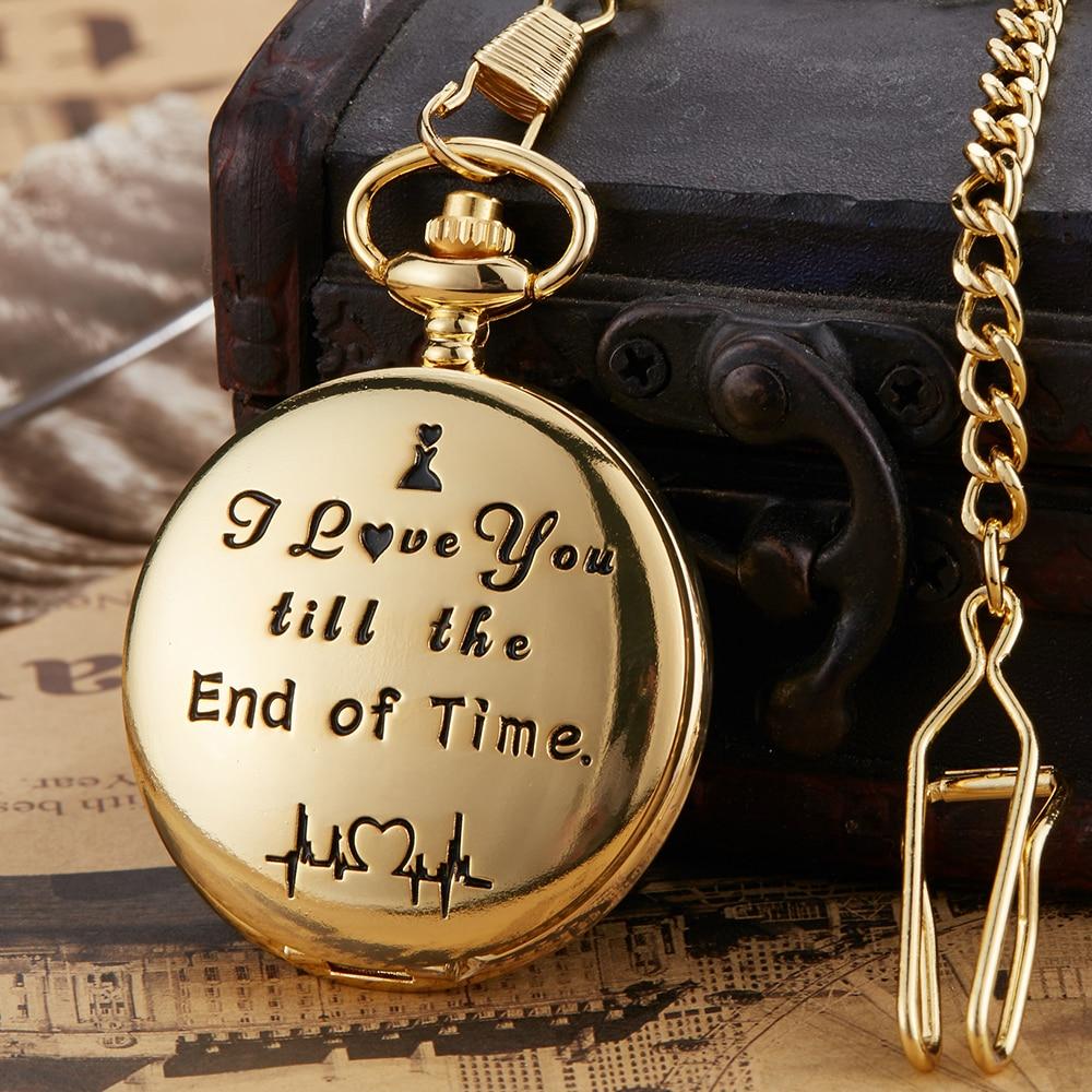 Quartz Pocket Watch Anniversary Present I LOVE YOU Engraved Pocket Watches Fob Chain Necklace Pendants Gift Reloj De Bolsillo