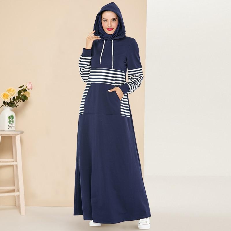 Siskakia Sweatshirt Dress Fashion Stripe Patchwork Hooded Dresses Long Plus Size Drawstring Front Pocket Casual Sporty Wears New