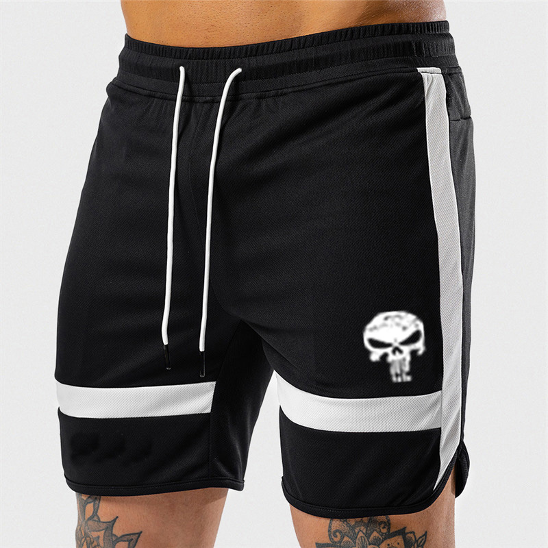 New 2020 Punisher Running Shorts Fashion Patchwork Skull Print Casual Shorts Summer Quick Dry Knee Length Fitness Shorts