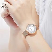 Shengke relojes de malla metálica para mujer, reloj femenino de diseño Vintage, de marca de lujo, clásico, 2020 SK