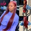 30 дюймов длинный прямой 99J красный парик на сетке спереди бразильский глубокий кудрявый Hd прозрачный на сетке передний al человеческие волос...