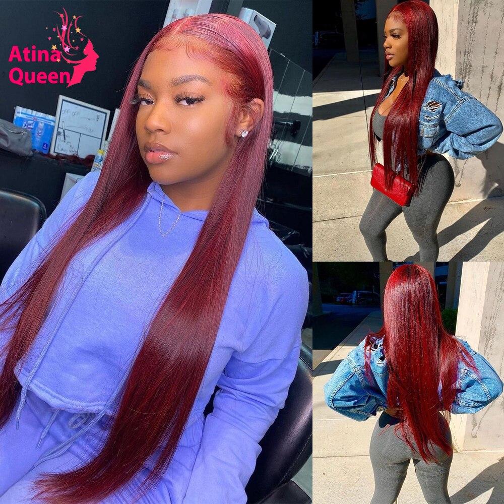 30 дюймов длинные прямые бордовый 99J красный Синтетические волосы на кружеве парик бразильский 13x4 Full Hd прозрачный Синтетические волосы на кр...