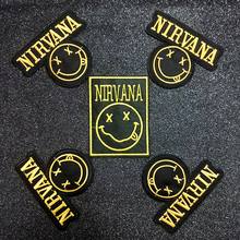Pulaqi Rock Music Nirvana Band Patch Iron On Patches For Clothing Embroidered Clothes Appliques Letter Badge Stickers F