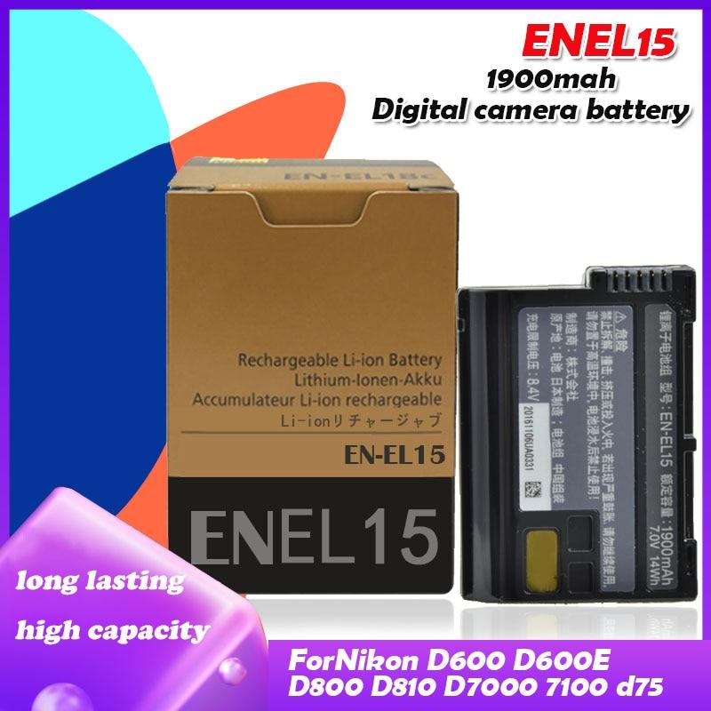 7.0V 1900Mah EN-EL15 ENEL15 En EL15 Batterijen Pack Voor Nikon D600 D610 D600E D800 D800E D810 D7000 7100 d750 V1 Camera Cellen