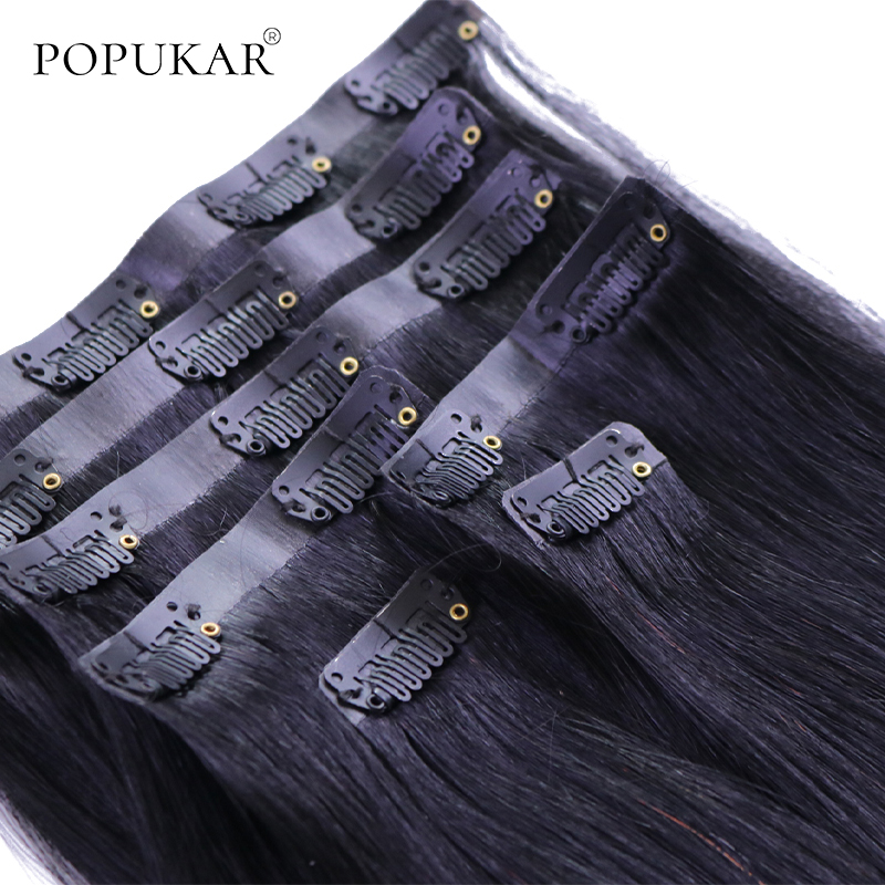 Popukar Clip In PU Skin Weft Hair Extensions Peruvian Straight 100 Real Remy Human Hair Clips In Black Color 7PCS 100g 12-26inch