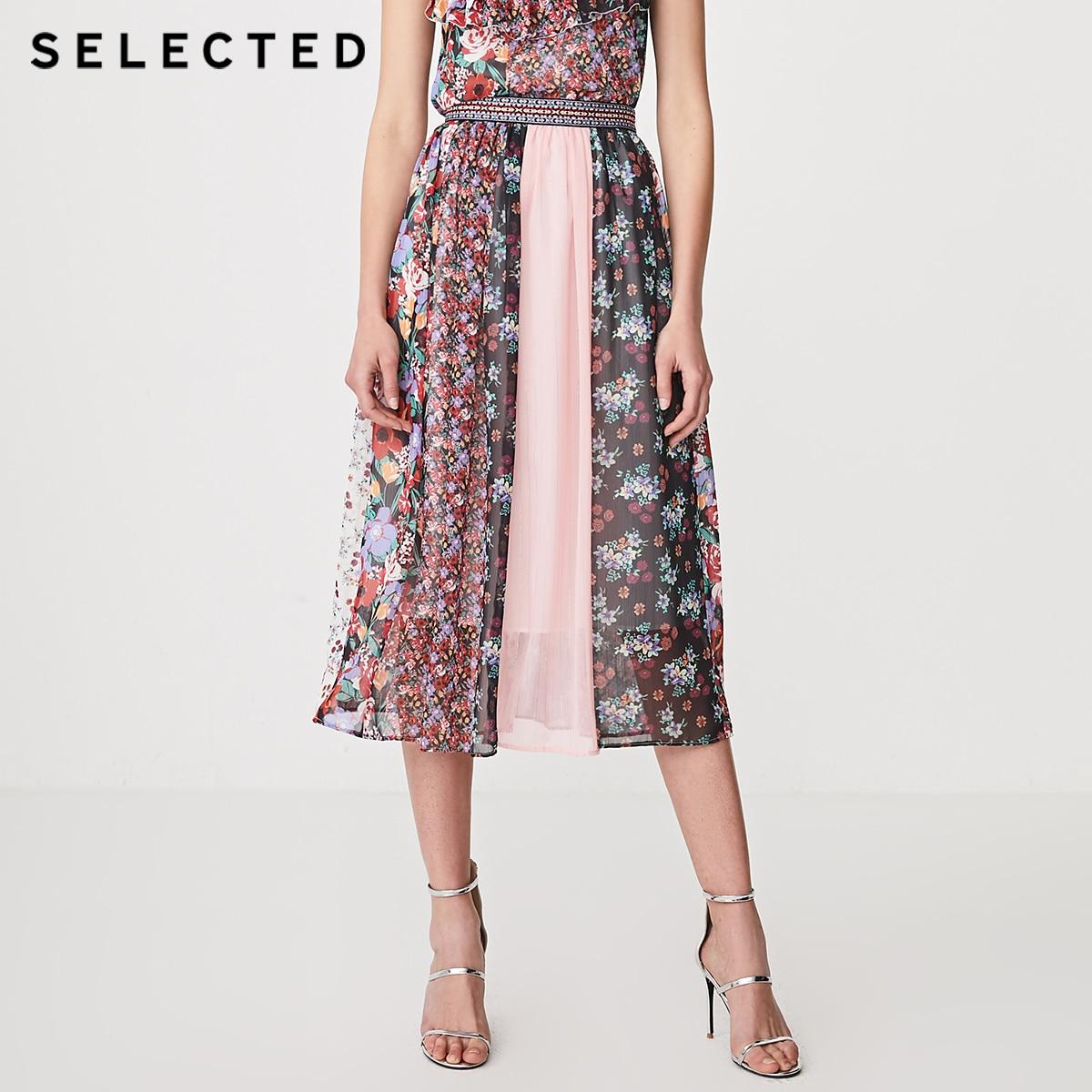 SELECTED Women's Printed Business Commuter Spliced Long Skirt S | 41924C524