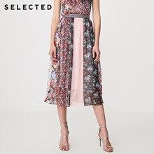 SELECTED Women's Printed Business Commuter Spliced Long Skirt S   41924C524