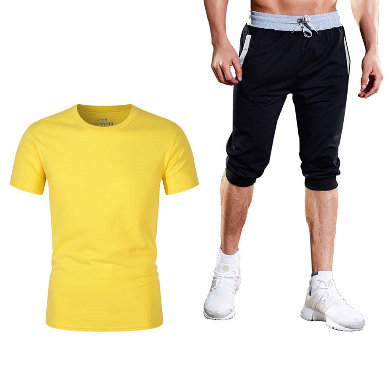 High Quality Men's Casual Suit + Shorts Men's Suit Hot Two-piece Sportswear Fashion Casual T-shirt Fitness Sportswear