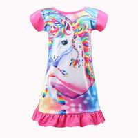 Vestido de unicornio con estampado de dibujos animados para niña, camisón de chica de 4 estilos, suave y cómodo, ropa de princesa de alta calidad, 2020