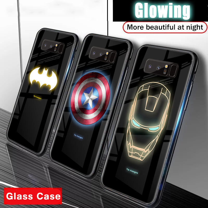 Marvel Avengers Luminous Tempered Glass <font><b>Case</b></font> for <font><b>Samsung</b></font> Galaxy <font><b>S10</b></font> Plus S10E S8 S9 Note 8 9 10 Coque Glow Dark <font><b>LED</b></font> Phone Cover image