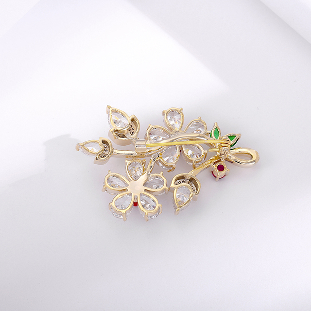 Moda flor de pêssego broches para as mulheres na moda zircônia cúbica strass flor pinos senhora nupcial festa de casamento jóias broche