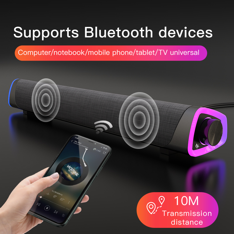 3D Computer Speakers Bluetooth 5.0 Wired Loudspeaker Surround Soundbar Speaker Stereo Subwoofer Sound bar for Laptop Notebook PC 3