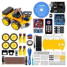 Lafvin 多機能 4WD ロボットカーキット超音波モジュール R3 MEGA328P ロボット自動車組立キット arduino の uno