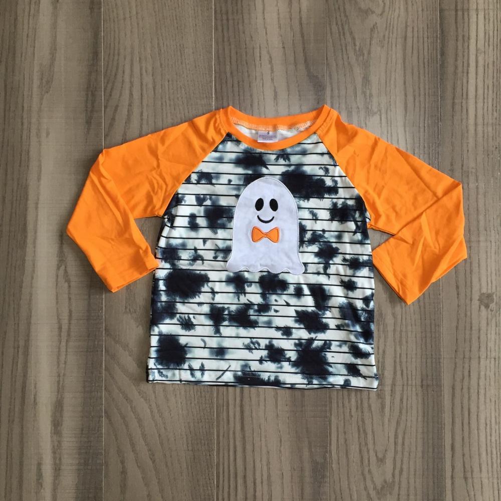 Girlymax Fall Halloween orange grey tie dye skull ghost cotton top long sleeve t-shirt baby boys raglans boutique kidswear 1