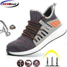 DEWBEST Work Boots Construction Men's Outdoor Steel Toe Cap Shoes Men Puncture Proof High Quality Lightweight Safety Shoes
