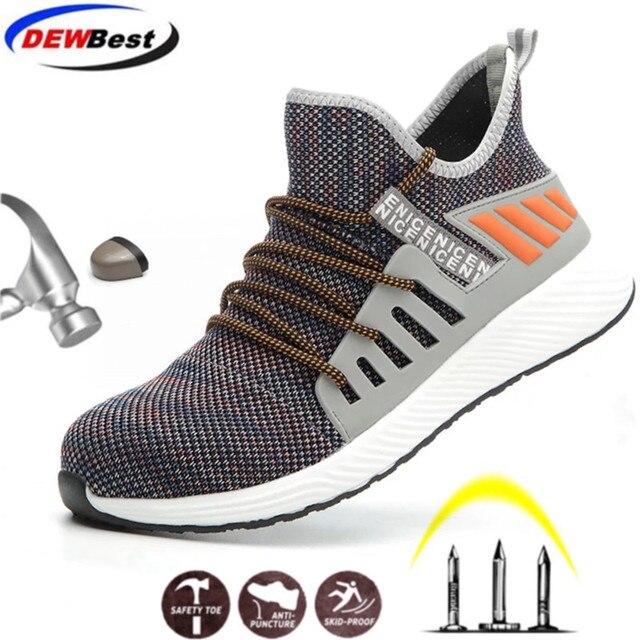 ความปลอดภัยรองเท้าทำงานก่อสร้างผู้ชายกลางแจ้งSteel Toe Capรองเท้าผู้ชายหลักฐานเจาะคุณภาพสูงน้ำหนักเบาความปลอดภัยรองเท้า