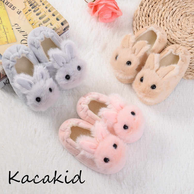 Baby Girls Shoes Autumn Winter Shoes Girls Boys First Walk Cotton Cartoon Rabbit Slippers Newborn Infant Baby Kid Slipper Casual