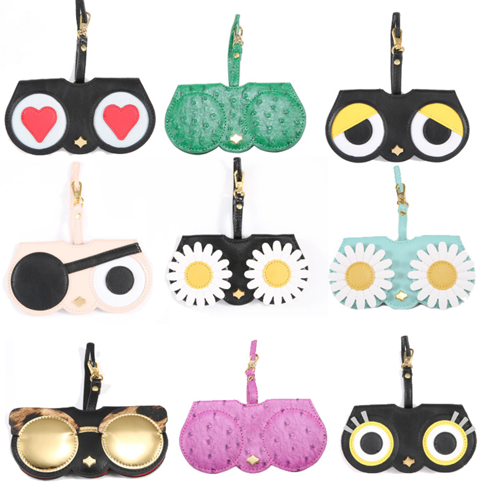Reedoon Sunglasses Case Women PU Leather Cute Cartoon Protable Eye Glasses Bag Storage Protection
