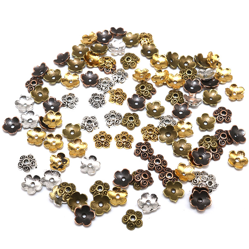 7mm 100/200pcs Tibetan Silver Plated Flower Beads Caps Mix Spacer Beads Alloy End Caps Pattern Bead Caps DIY Jewelry Making