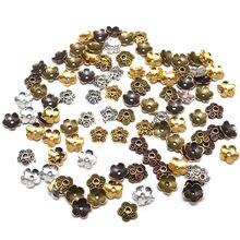 Contas de flores tibetanas banhadas à prata, 7mm 100 peças, mix de contas, tampas, padrão de contas, liga tampas fazer joias diy