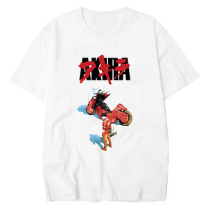 Akira Cotton Fashion Tee Shirt O-Neck Tops Synthwave T-Shirt Men Short Sleeve Summer Fashion Tshirt Casual White T Shirt(China)