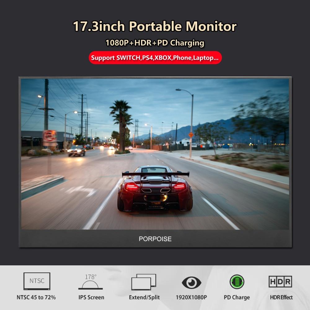 Novo 17.3 polegada portátil computador monitor pc hdmi ps3 ps4 xbo x360 1080p ips lcd display led monitor para raspberry pi