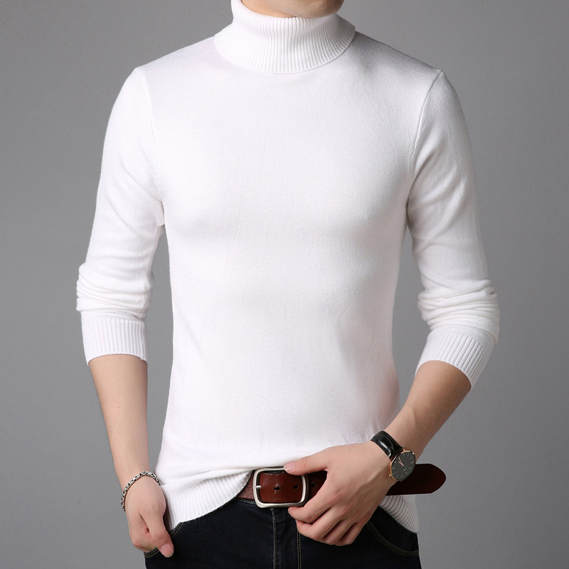 2019 Winter High Neck Thick Warm Sweater Men Turtleneck Mens Sweaters Slim Fit Pullover Men Knitwear Male Double Collar