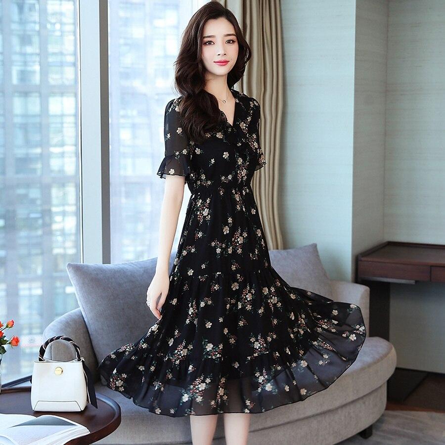 ee5afd55145f Verano negro Vintage Floral chifón Midi Sundress 2019 mujeres ...