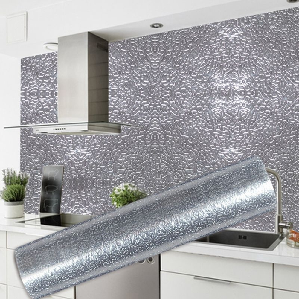 Kitchen Wall Stove Aluminum Foil Oil-proof Stickers Anti-fouling High-temperature Self-adhesive Croppable Wallpaper