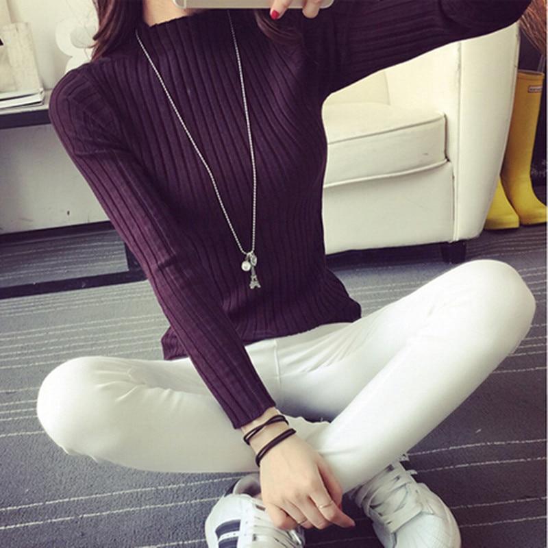 2018 nouvelle mode automne hiver femmes tricoté pull à col roulé longs chandails hauts décontracté Crochet col roulé Sw090